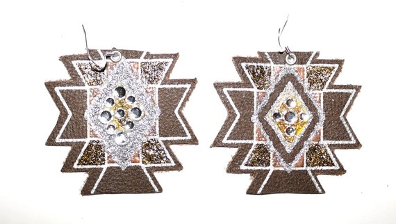 Tribal Tribute - Hand painted - Leather earrings - Glitter earrings