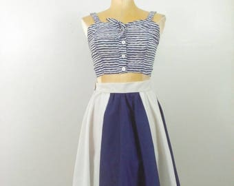 SANDY BABY Vintage Rockabilly Skirt Pinup Girl Clothing Blue & White Colorblock Circle Skirt Size Small Retro Clothing SUB136