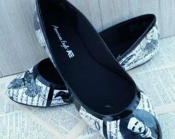 Edgar Allan Poe Shoes Poe Flats The Raven Gothic Wedding Shoes Classic Literature Shoes Book Shoes Book Wedding Shoes Book Lover