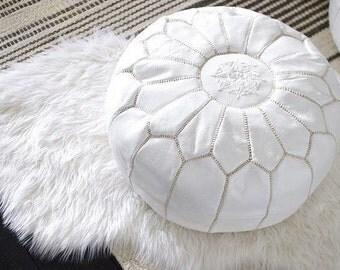 White Moroccan Pouf Ottoman-Nursery Footstool Pouf-Nursery Decor-Moroccan Leather Pouf-Boho Decor-Leather Pouf-Bohemian Home Decor-Cushions