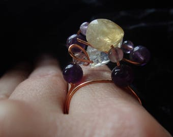 Citrine and Amethyst Metaphysical Ring