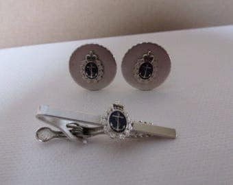 Vintage Cuff Links, Silver Tone Metal, Blue Crown &  Anchor Emblem, Round  Cuff Links, Collectible Jewelry
