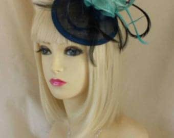 Teal navy blue fascinator pill box hat wedding races green feather fashion hair piece headband flower bridesmaid mother bride outfit