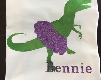 Glitter Tutu T-Rex with Name Vinyl Shirt or Onesie