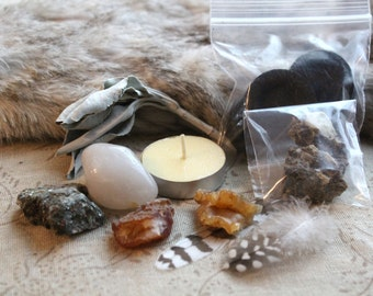 End of Season Sale Purify Crystal and Sage Home Alter Kit/Carnelians from the Pacific Northwest Hand Collected Stones/Witch Craft Set