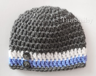 Graphite Baby Hat,  Gray Baby Hat, Striped Boy Hat, Gray Blue White Hat, Hospital Hat, Baby Boy Outfit, Take Home Outfit, Newborn Boy Hat