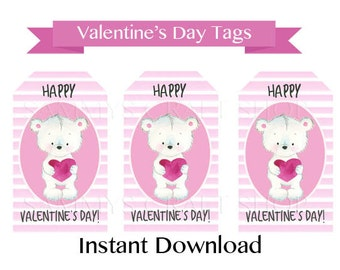 Printable Valentine Tags for Kids, Instant Download Valentine Bear Gift Tags Favor Tags, Valentines Day Party