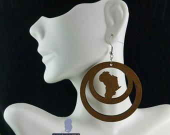 Around Africa- Handmade Wooden Earrings (dark natural)