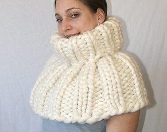 Thick mega chunky turtleneck cape 100% merino sheep wool by strickolino