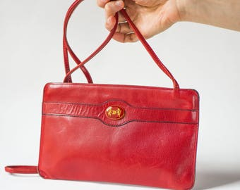 Vintage Red Purse Clutch Lamarthe Leather Handbag Envelope - Unicorns symbol shoulder Bag Shoulder Purse classic elegance Cross Body Clutch