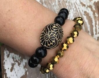 GIFT SET - Sparkly gold + Black beaded bracelet set |  metallic faceted bracelet stack | stackable | Christmas  bracelet set
