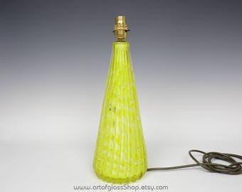 Murano yellow glass lamp with controlled bubbles