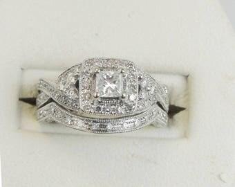 1.14ct Princess Halo Diamond Engagement Wedding Ring Set 14k White Gold Vintage
