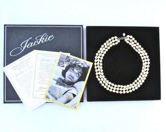 Jackie Kennedy Pearls In Box Three Strand Faux Pearl Necklace Franklin Mint Repro Vintage 90s Jewelry Jacqueline Kennedy 18 Inches Necklace