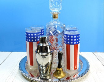 Barware Set Patriotic Red White Blue Flag Drinking Glasses Glass Prohibition Liquor Decanter on Silver Plate Tray Vintage Wedding Gift