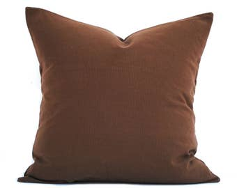 "One Brown pillow cover, decorative throw pillow, decorative pillow, accent pillow, pillow case, 12"" 14"" 16"" 18"" 20"", Brown Throw Pillow"