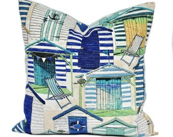 One blue indoor/outdoor nautical pillow covers, cushion, decorative throw pillow