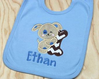 Baby Bib - Baby Gift - Shower Gift - Bib for Boys - Boy Bib - Personalized Bib - Monogrammed Bib - Puppy with Bone
