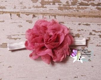 Mauve Gray Silver Ivory Chiffon Lace Flower Headband, Lace Headband, Flower Clip - Baby Girl Toddler Woman Vintage - SB-075b