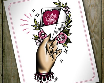 """A Letter to Myself Traditional Tattoo Flash Print 11""""x14"""" (A4 and A5 sizes available)"""