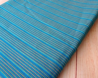 Striped cotton fabric shot cotton, DIY Craft, Sewing, Apparel, Blue small stripe Indian cotton fabric, half yard