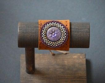 Shabir - Bead Emroidery Bracelet on Genuine Leather