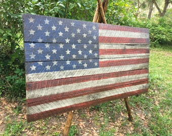Large American flag made from 100 year old barn wood, 32x60 home decor, office decor, distressed, rustic flag