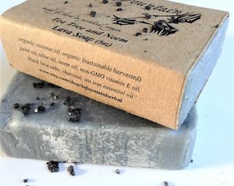 Tea Tree and Neem Lava Soap, Organic Soap, Handmade Soap