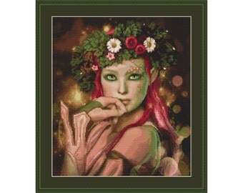 Cross stitch kit Guardian of the Woods, woman, fairy elf