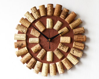 Cork Wall Clock  - Recycled Wine Corks Clock - Brown Clock - Wine Lovers Gift - 3D Clock - Round Clock