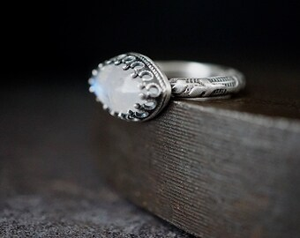 Blue Cats Eye Moonstone Ring , Vine Pattern Sterling Band ,  Size 7.75 , Marquise Gemstone Ring , Gothic Solitaire Ring