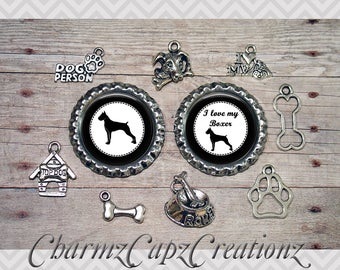 10pc Boxer Dog Charm Set/Lot/Collection with Bottle Caps / Jewelry, Scrapbooking, Crafts / Jewelry and/or Crafting Kit / Choose Images