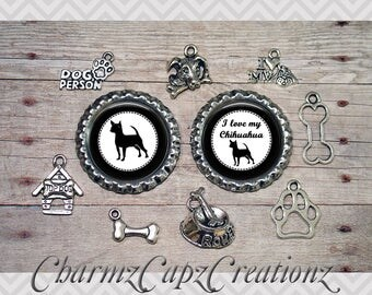 10pc Chihuahua Dog Charm Set/Lot/Collection with Bottle Caps / Jewelry, Scrapbooking, Crafts / Jewelry and/or Crafting Kit / Choose Images