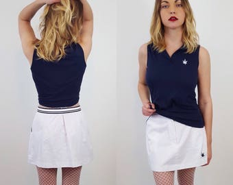 Small/Medium 90s Vintage Two Piece Skirt and Top Set - Matching Coordinate Set - 1990s White Skirt and Blue Top with Weed Leaf Detail