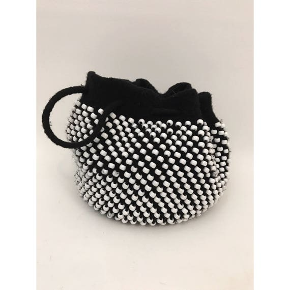 80's HANDMADE Beaded Party Purse - Small Black and White Beads Fun Knitted Bag - Wristlet Clutch Tiny Handknit Felted Drawstring Bucket Bag
