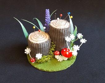 Fairy Tale Woodland Handmade Double Tree Stump Pincushion