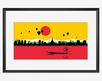 Myanmar Skyline, Myanmar art, Myanmar print, Myanmar poster, Myanmar Yangon, Yangon art, Yangon print, Pagoda art, Pagoda print, Pagoda gift