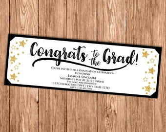 Graduation Ticket Invitation - Black White Gold Stars Invite- Congrats to the Grad - Class of 2017 - Printable or Printed - 2x6