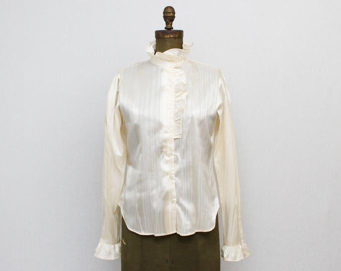 60s Ivory Ruffle Blouse - Vintage 1960s High Neck Pinstripe Blouse