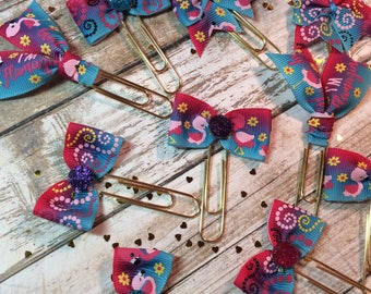 Bright Flamingos - Set of 2 Ribbon Planner Clips / Bookmarks