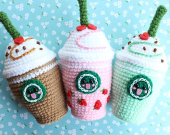 Strawberry, Mint and Chocolate Frappuccinos Crochet Plush+Special gift!
