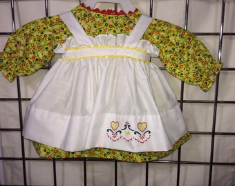 Dress and Apron for 25 INCH Raggedy Ann Doll; Yellow , floral print dress with embroidered apron