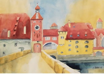 Citscape of Regensburg in Germany with Stone Bridge, Medieval City, Architectural Watercolor Painting