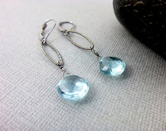 Aquamarine Chakra Earrings, Wire Wrapped Briolettes, March Birthstone, Oxidized Sterling Silver Dangles, Throat Chakra Healing Crystals