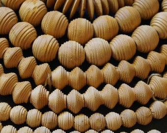 Natural wooden beads, unfinished, ribbed round, disks, bicones 1 -2 cm large hole 100 per strand