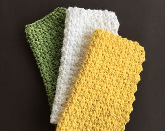 Cotton Dishcloths ~ Cotton Washcloth ~ Crocheted Dishcloth ~ Crocheted Washcloth ~ Dish Cloth ~ Wash Cloth ~ Housewarming Gift ~ Shower Gift