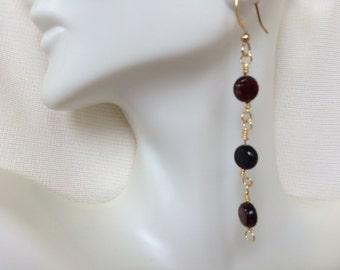 Handmade Garnet Dangling Earrings Drop Earrings Affordable Deep Red Earrings Gemstone Beaded Jewelry Gift for Her Neutral Accessories Women