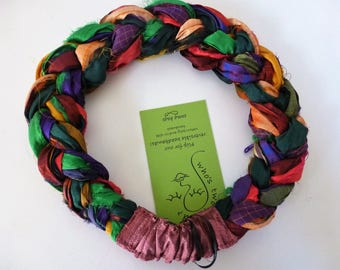 Jewel tones of sari silk lushly woven into my gorgeous Sari Silk Braided Headband - delightfully deconstructed!