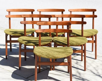 RARE! Set of Six Mid Century Danish Modern Vtg Dining Chairs by Poul Volther