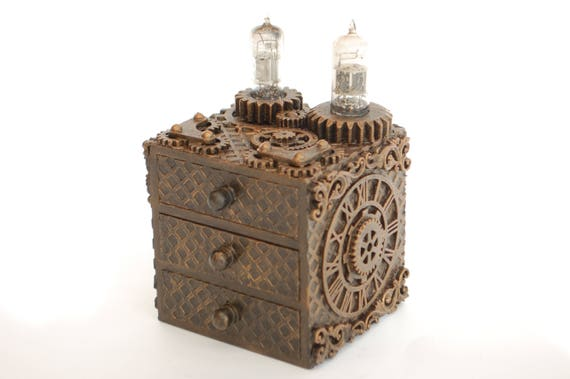 Steampunk Mini Drawers, With Gears, Cogs, valves, Unique Hand Made Home Decor, Box